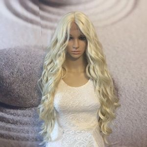 Blonde lace front wig human hair blend